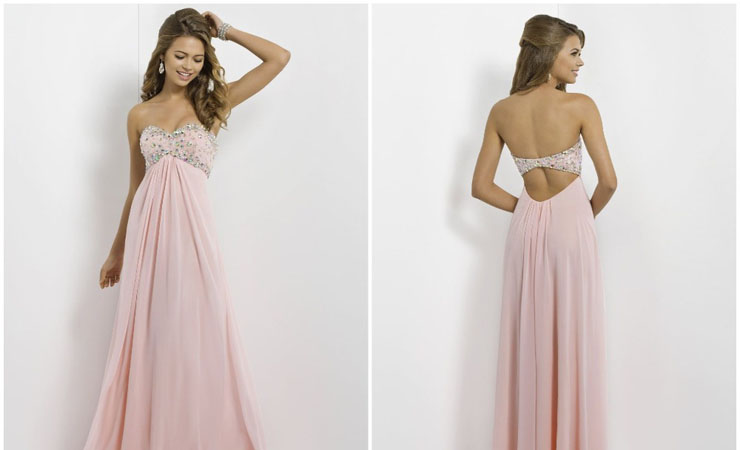One-of-a-kind A-line Pink Prom Dress with Elaborate Illusion Neckline by Sherri Hill