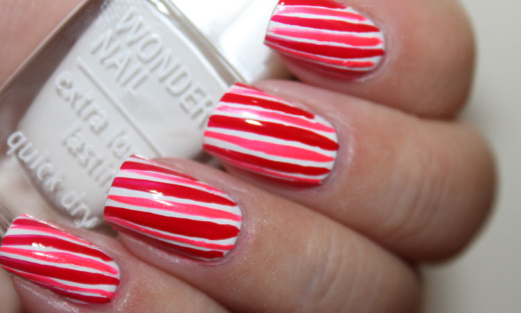Neon Candy Cane Nails