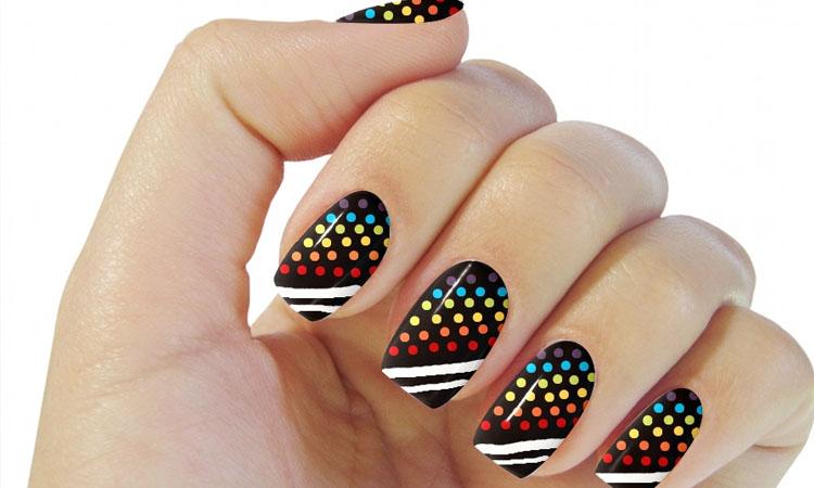 Neon Style Round Nail Design