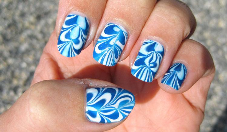 Blue Swirl Nail Art