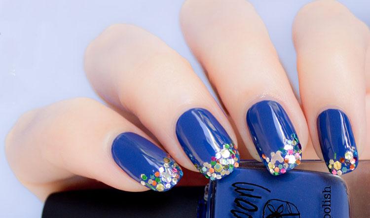 Multi Sparkling Blue Nail Designs