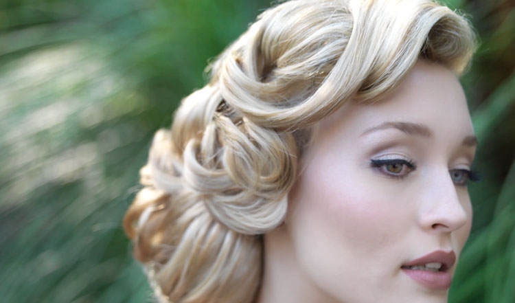 Vintage Updo wedding hair