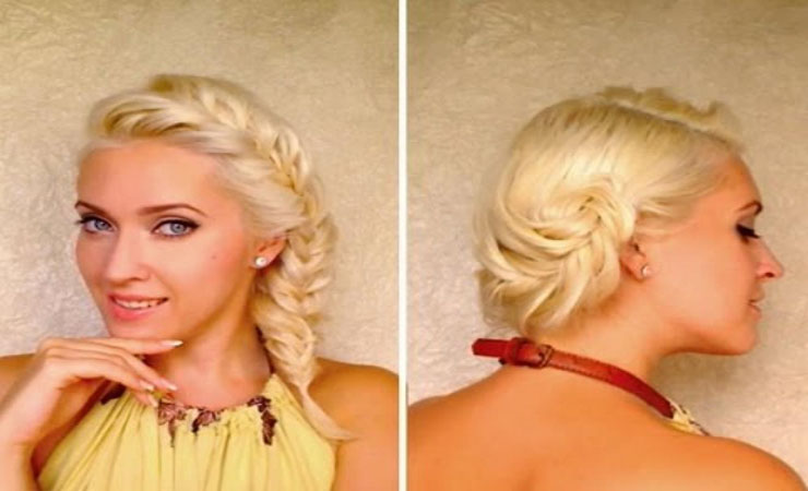 short-hair-updo-with-fishtail-braids