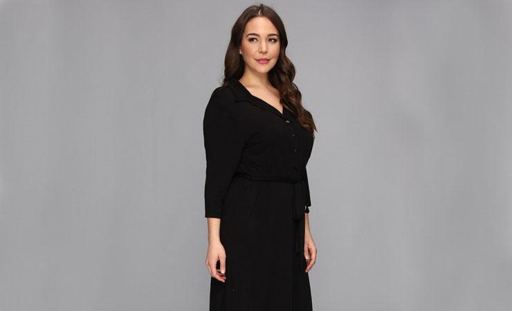 womens-3-4-sleeve-pattern-ponté-wrap-dress