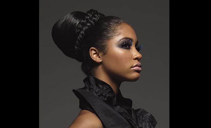 Chignon-updo-for-Long-Black-Hair