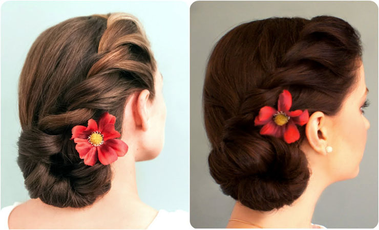 Rope-Braid-Chignon-Updo-for-Medium-Length-Hair