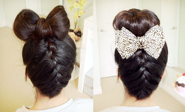 Upside-Down-Braid-and-Bun-Updo-for-medium-Length-Hair