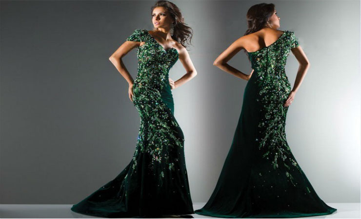 Emerald-Green-One-Sided-Strap-Dress-Dresses-Collection