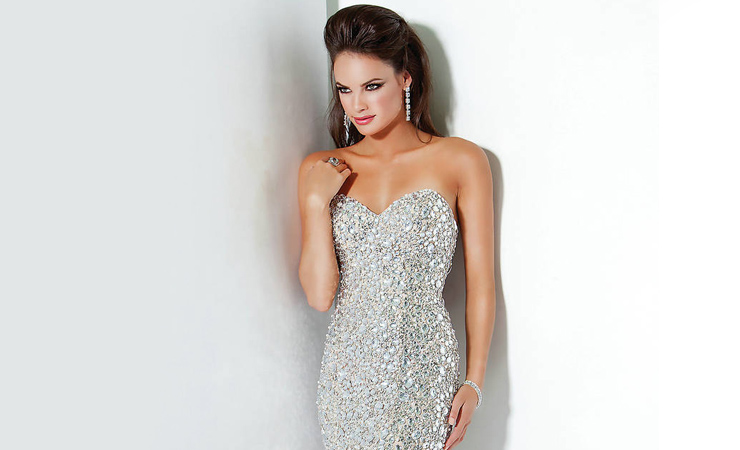 White-Strapless-Sequin-Sweetheart-Dress
