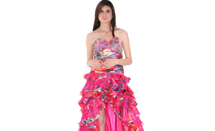 Ruffled-High-Low-Strapless-Prom-Dress