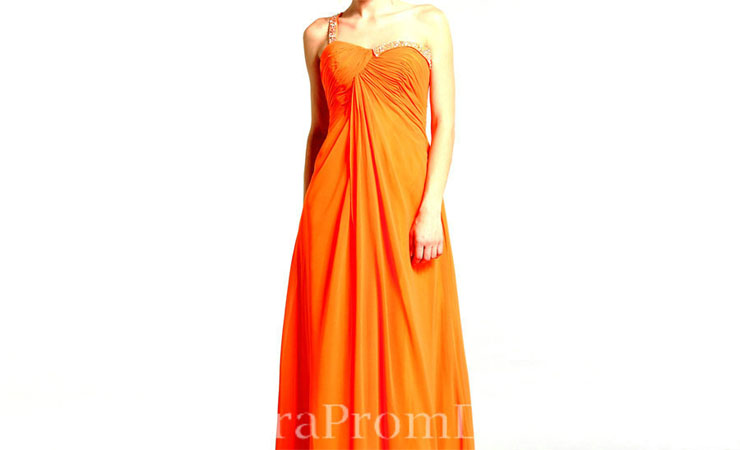 One Shoulder Orange Prom Dress with Sweetheart Bodice