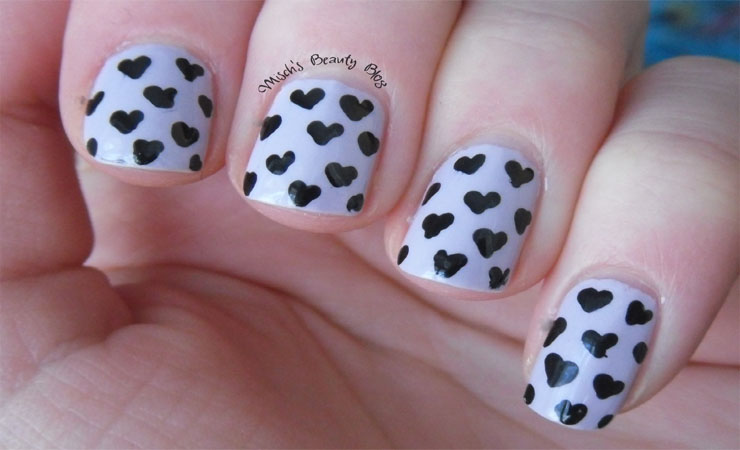 Heart Decals Nail Design