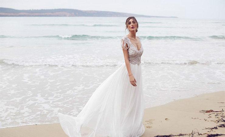 A-Line Chiffon Beaded Court Train Chiffon Plus size Wedding Dress