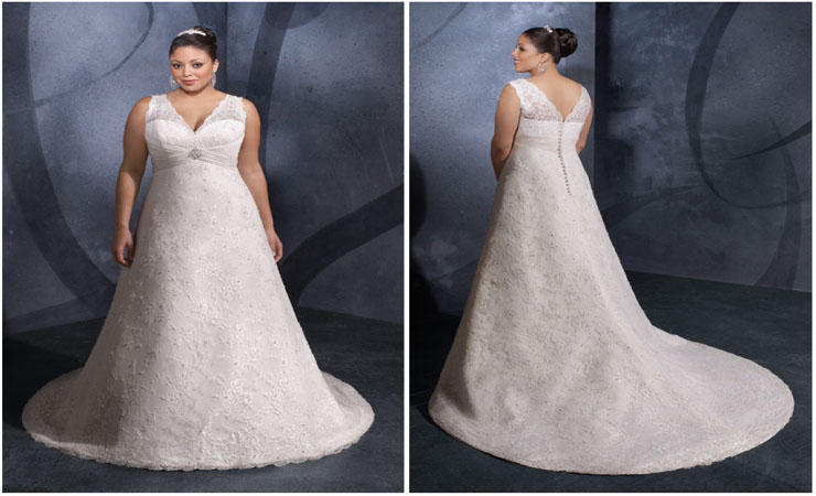 A-Line Plus Size Lace Wedding Dress with Champagne Underlay