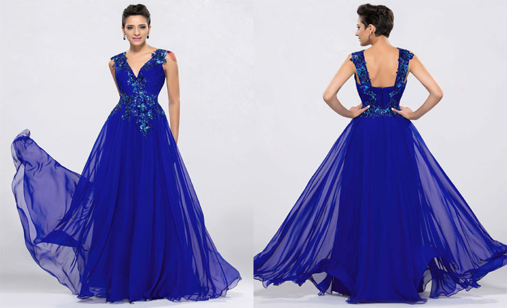 A-line V-Neck Appliqués Tulle Back floor-Length Blue Quinceanera Dress