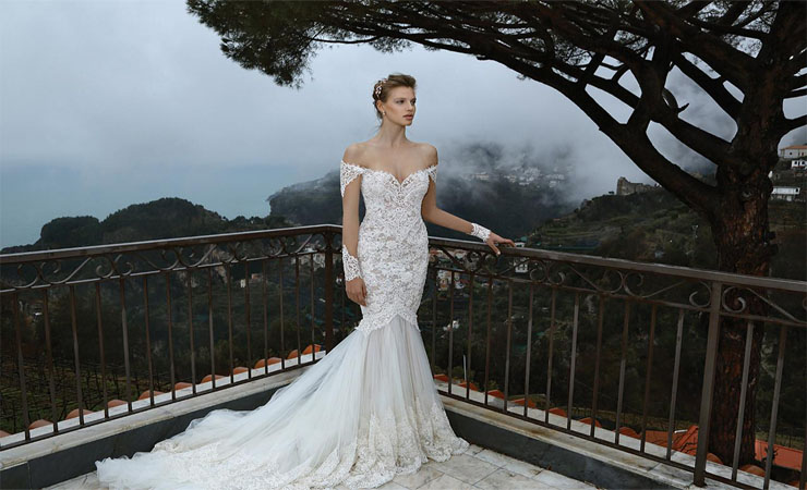 All Over Hand-beaded Tiered Lace Mermaid Plus Size Wedding Dress