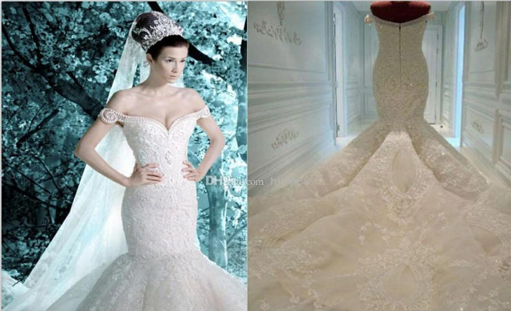 Appliqué Fantasy Sequined Mermaid Wedding Dress