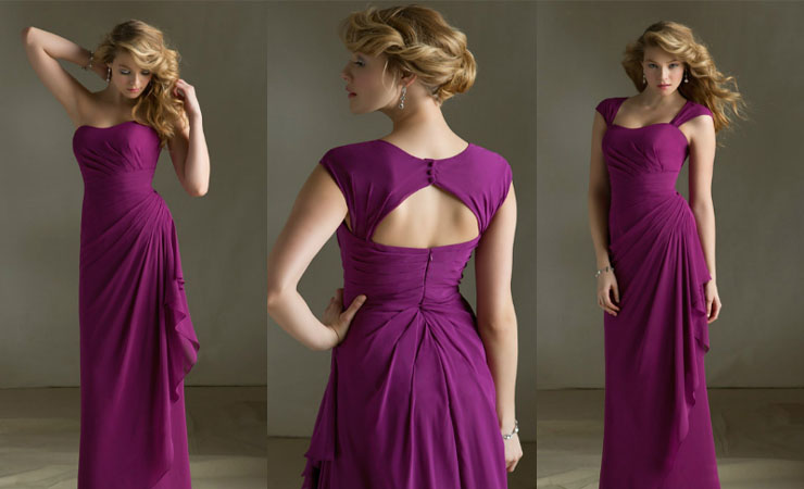 Empire Chiffon Ruching Strapless Purple Quinceanera Dress