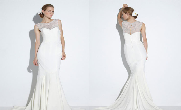 Illusion Bateau Neckline Mermaid Wedding Dress