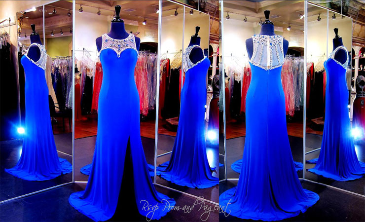 Illusion Cap Strapless Sparkling Blue Quinceanera Dress