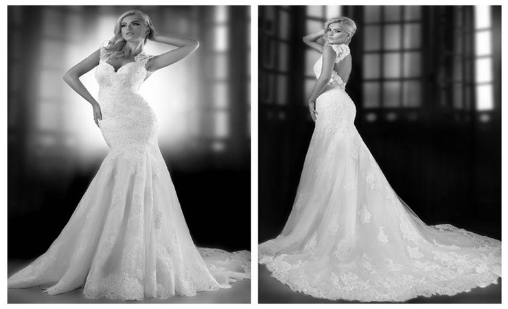 Lace and Sparkling Mermaid Wedding Dress with Tulle Overlay