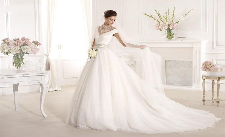 Plus Size Wedding Dress with Deep V Illusion Back and Flowing Tulle Godets