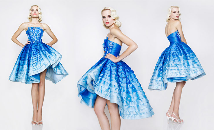 Short Two Pieces Floral Blue Quinceanera Dress