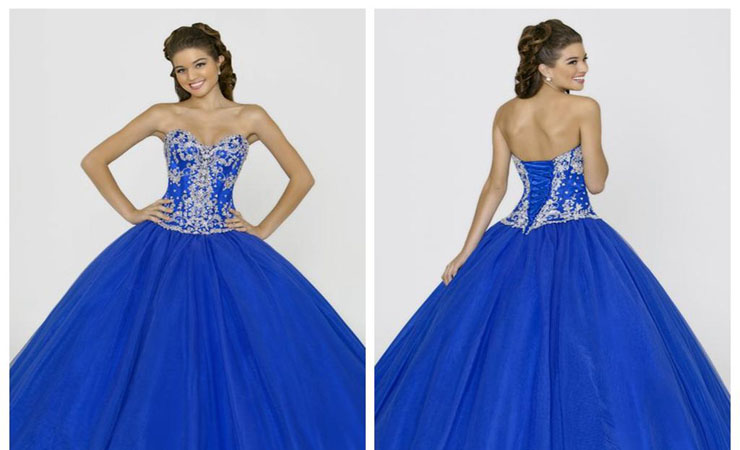 Strapless A-Line Blue Quinceanera Dress with Dropped Waist