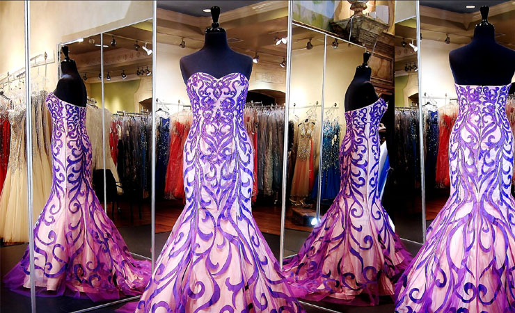 Strapless Beaded Swirling Purple Quinceanera Dress