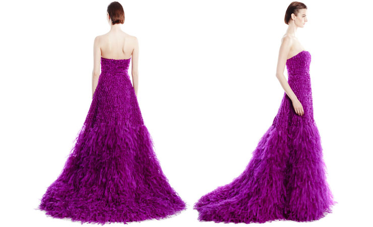 Strapless Corset-Style Ruffled Purple Quinceanera Dress