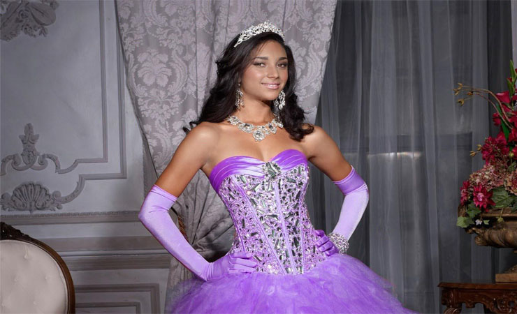 Strapless Gorgeous Stones Purple Quinceanera Dress