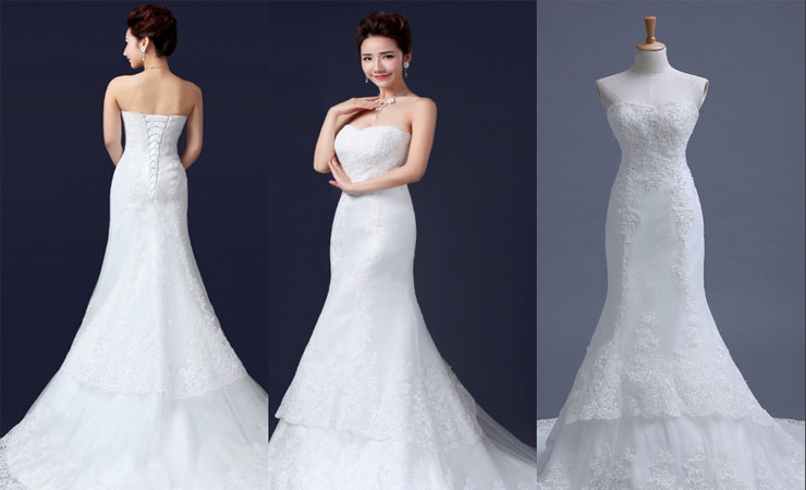 Strapless Ivory Tulle-over-lace Plus Size Wedding Dress