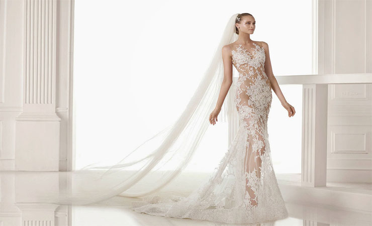 Strapless Lace and Shimmer Stones Mermaid Wedding Dress