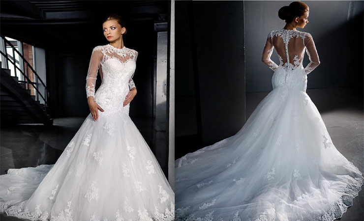 Strapless Lace Trumpet Plus Size Wedding Dress with Sweeping Train