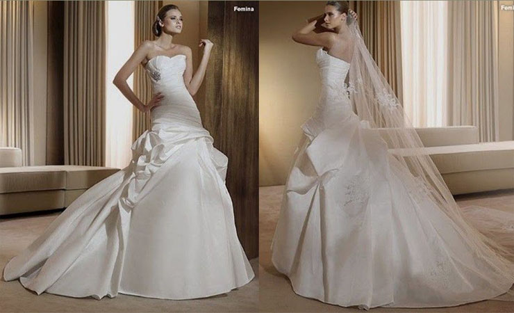 Taffeta and Satin Mermaid Wedding Dress with Sweetheart Cut