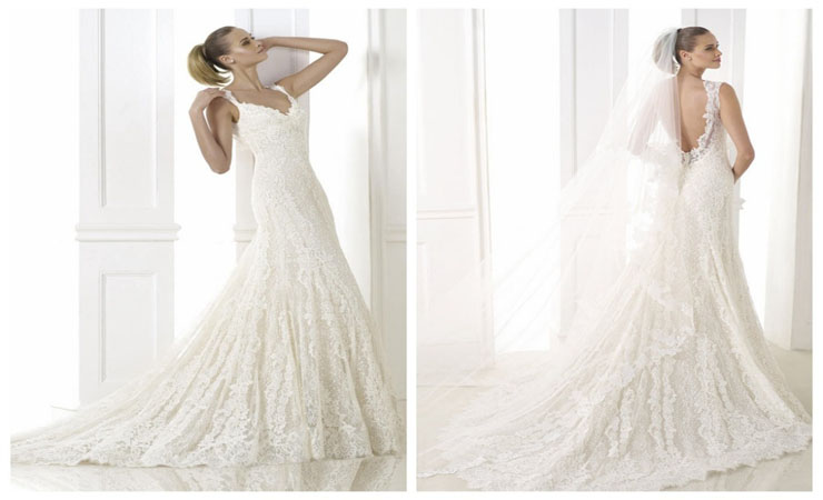 Theatrical Sleeveless Mermaid Wedding Dress with Pretty Sweeping Train