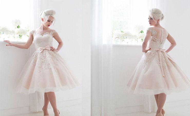 Tulle Tea Length Plus Size Wedding Dress with Illusion Neckline