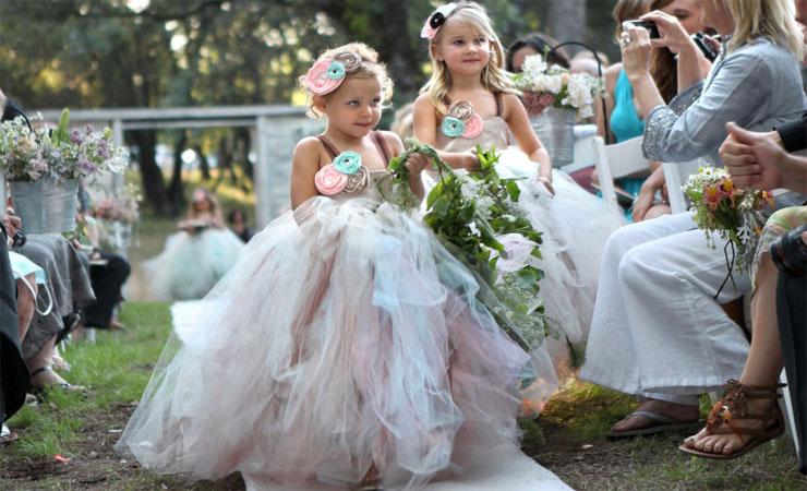 Layered Enchantment Lace Flower Girl Dress with Tonal Ribbon
