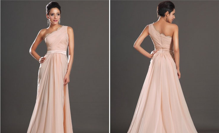 High Low One Shoulder Pink Homecoming Dress