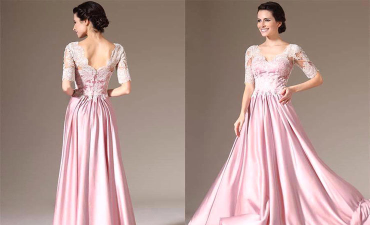 A-line Pink Prom Dress with bib-style bodice by Sherri Hill