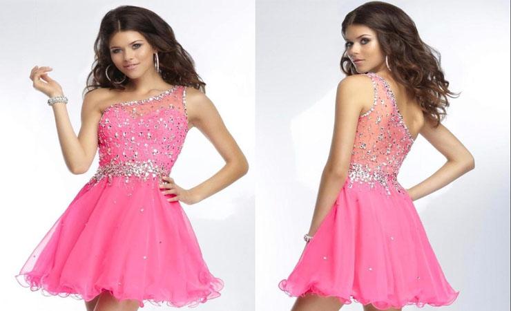 Short Cap Sleeve Open Back Pink Homecoming Dress