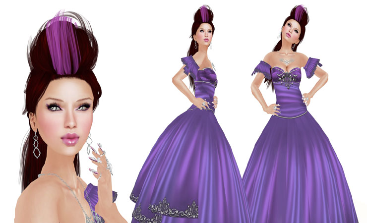 Ava Vintage Dress in Grape Purple - Plus Size
