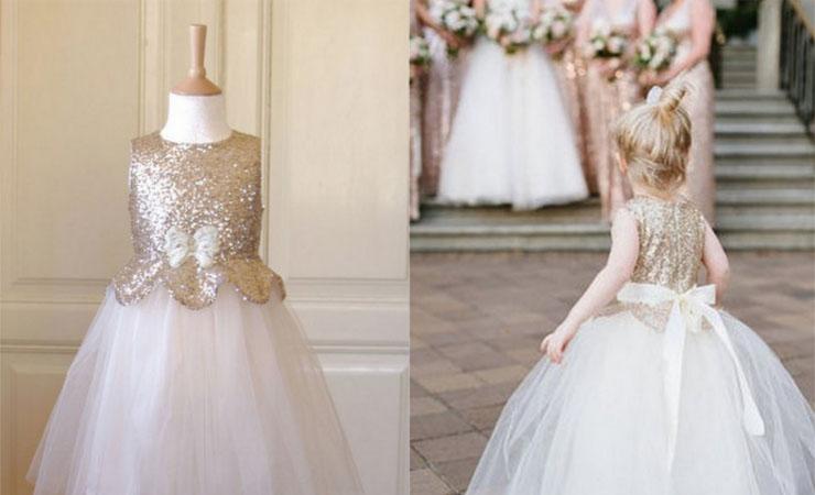 Blushing Beauty Pearl Lace Flower Girl Dress