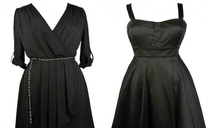 Brigit Vintage Dress in Black - Plus Size
