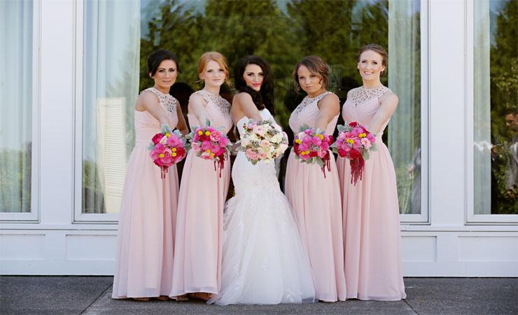 Brilliant Lace Illusion Pink Prom Dress