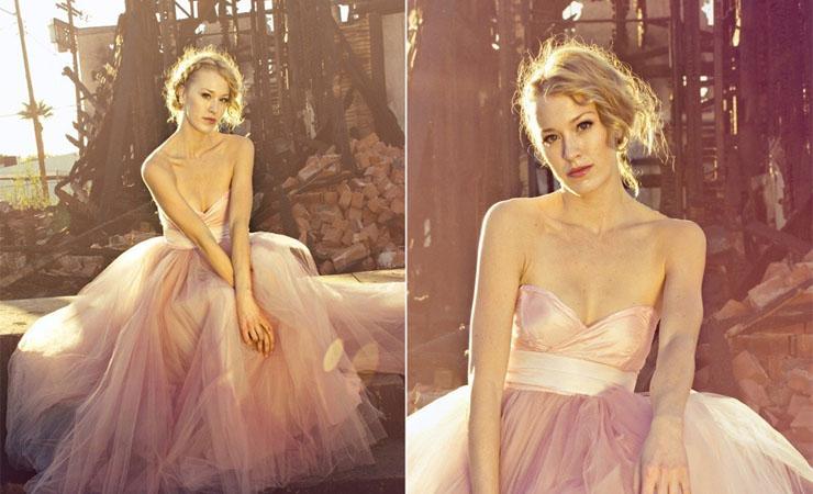 Chiffon Strapless Ruched Bodice Pink Homecoming Dress