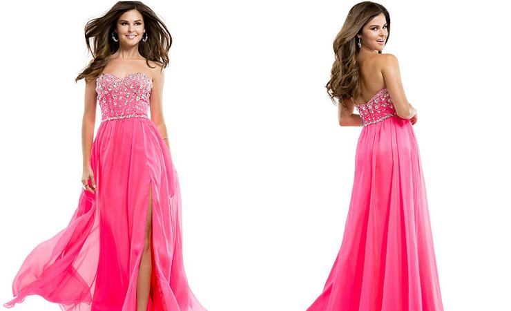 Exquisite Sequined Scoop Pink Homecoming Dress