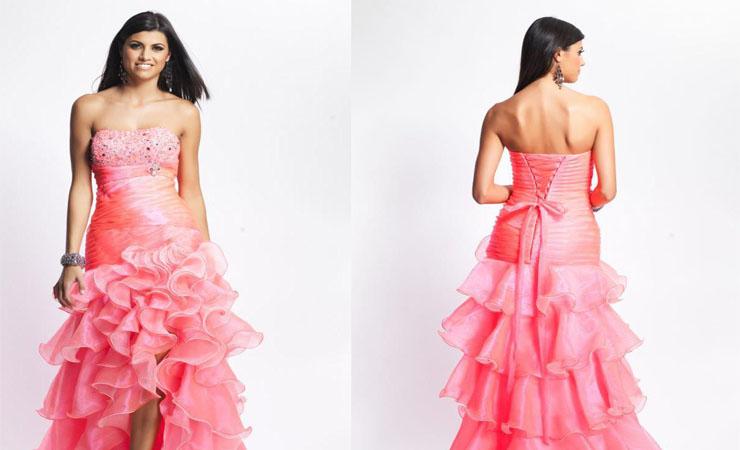 Chic Corded Sheer Short Sleeves Pink Homecoming Dress