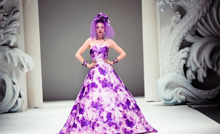 Flower Print Charmeuse Purple White Prom Dress