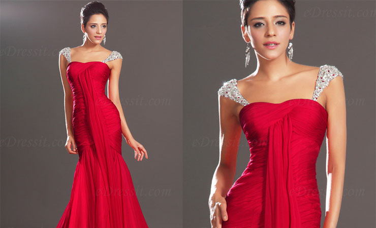 Lace-layered Coral Prom Dress with Ballet-length Sleeves
